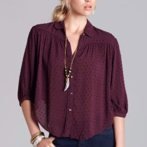 Free People Sparrow Swiss Dot Sheer Blouse Size LG